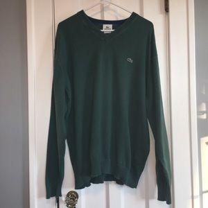 Lacoste cotton v neck hunter green sweater